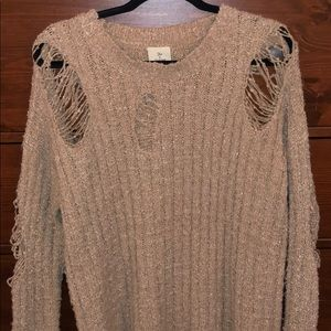 Distressed Tan Sweater